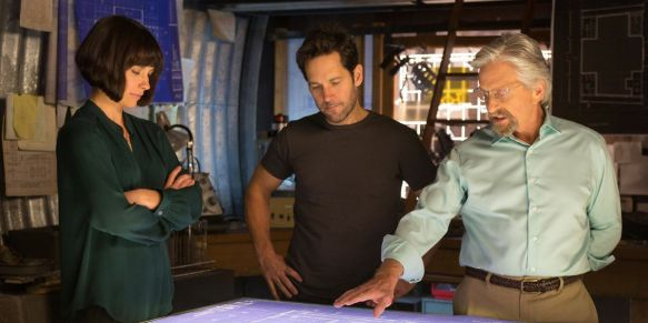 (left-right) Evangeline Lilly, Paul Rudd, and Michael Douglas.